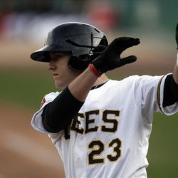 Mike Trout warms up  as the Salt Lake Bees open the season at home  in Salt Lake City  Friday, April 13, 2012.