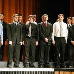 Math finalists take the stage at Cottonwood High School during the Sterling Scholar awards ceremony on Wednesday night.