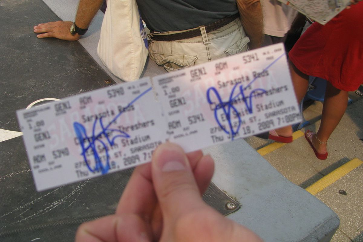 Joey Votto autographed my ticket stubs from the Sarasota Reds game last Thursday.  Not only is he a great ballplayer and a handsome fella, but he's a humanitarian too.  They should make a TV show about him.