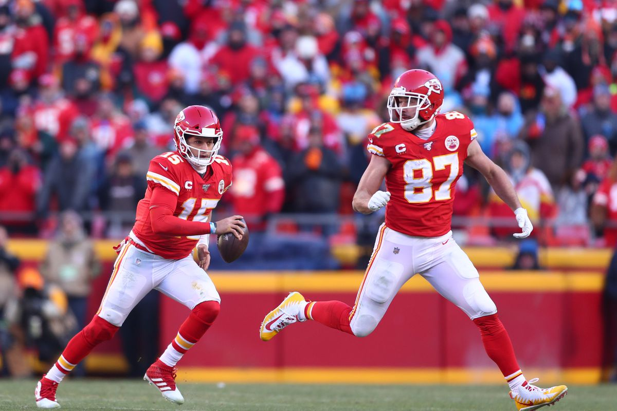 Kansas City Chiefs quarterback Patrick Mahomes and tight end Travis Kelce against the Tennessee Titans in the AFC Championship Game at Arrowhead Stadium.
