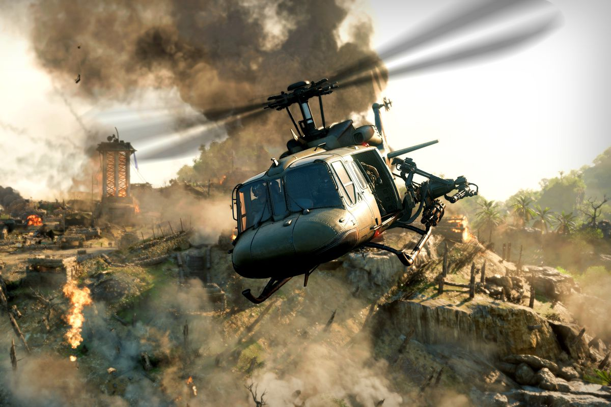 A helicopter flies in Black Ops Cold War