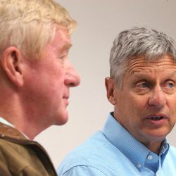 Libertarian presidential candidate Gov. Gary Johnson, right, and running mate Gov. Bill Weld answer questions from the media prior to giving a speech in Salt Lake City at the University of Utah on Saturday, Aug. 6, 2016.