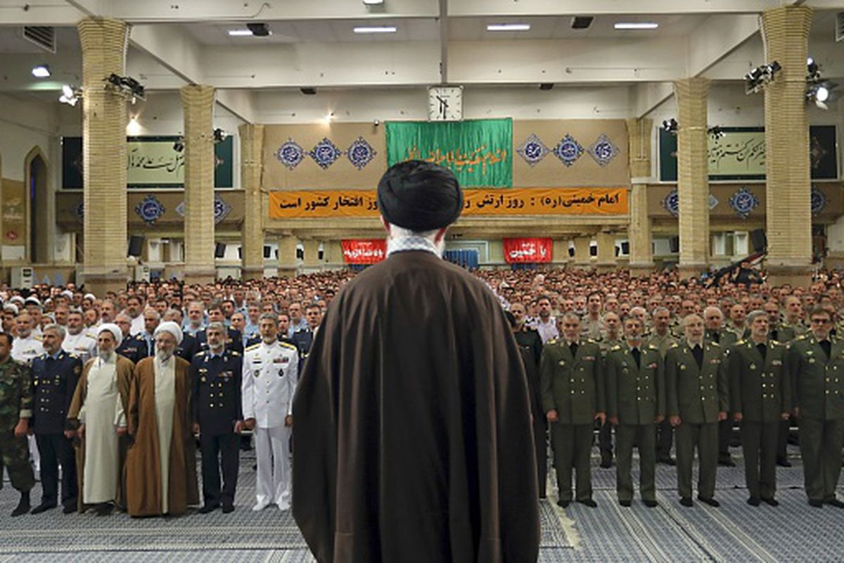 """TEHRAN, IRAN - APRIL 19: (----EDITORIAL USE ONLY  MANDATORY CREDIT - IRANIAN SUPREME LEADER PRESS OFFICE / HANDOUT"""" - NO MARKETING NO ADVERTISING CAMPAIGNS - DISTRIBUTED AS A SERVICE TO CLIENTS----) Supreme Leader of Iran, Ali Khamenei addresses the Iranian Army members as part of the National Army Day, in Tehran, Iran on April 19, 2017.   (Photo by Supreme Leader Press Office / Handout/Anadolu Agency/Getty Images)"""