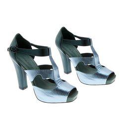 "Jealousy-inducing metallics, check. Metallic T Strap Heel, $430 at <a href=""http://www.cynthiarowley.com/accessories/metallic-tri-strap-heel.html?color=Teal%2FBlue&size=36"">Cynthia Rowley</a>."