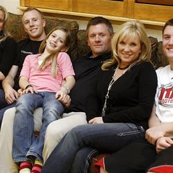 The Whittingham family at their Sandy home on Thursday. Melissa, left, Tyler, Kylie,  Kyle, Jamie and Alex. Tyler and Melissa are students at the U., where their dad coaches.