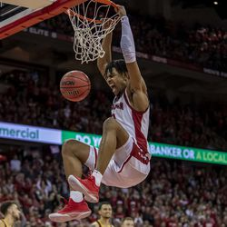 Aleem Ford slams home a huge dunk late in the second half.