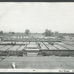 Early stages of building the Mesa Arizona Temple (then called the Mesa Temple). Construction began in 1923 and took more than four years to complete. Architects chose terra cotta blocks for the cladding of the temple. The dedication took place October 23-27, 1927.