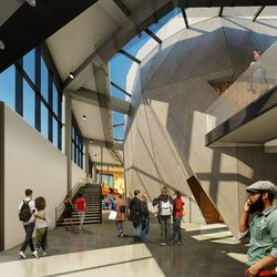 A rendering of the south lobby planned for the Steppenwolf Theatre's renovation. | Adrian Smith + Gordon Gill (provided)