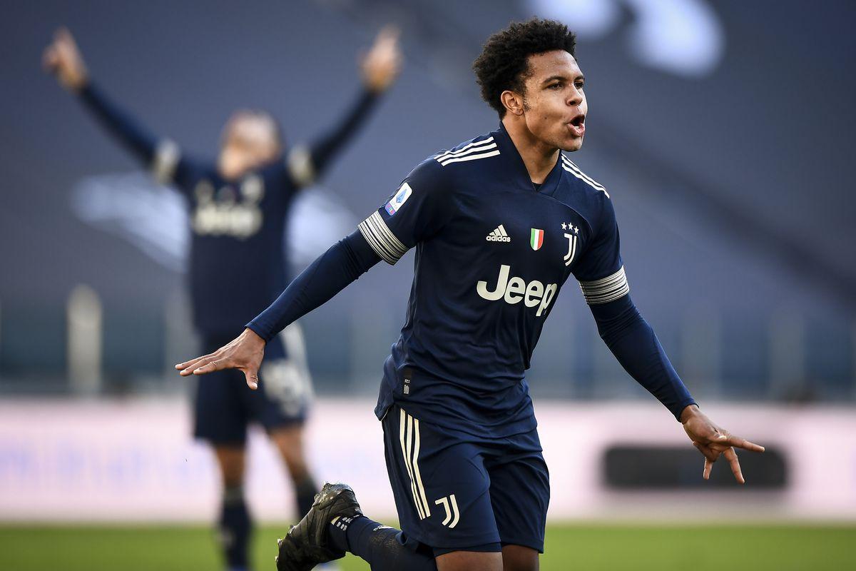 Weston McKennie of Juventus FC celebrates after scoring a...