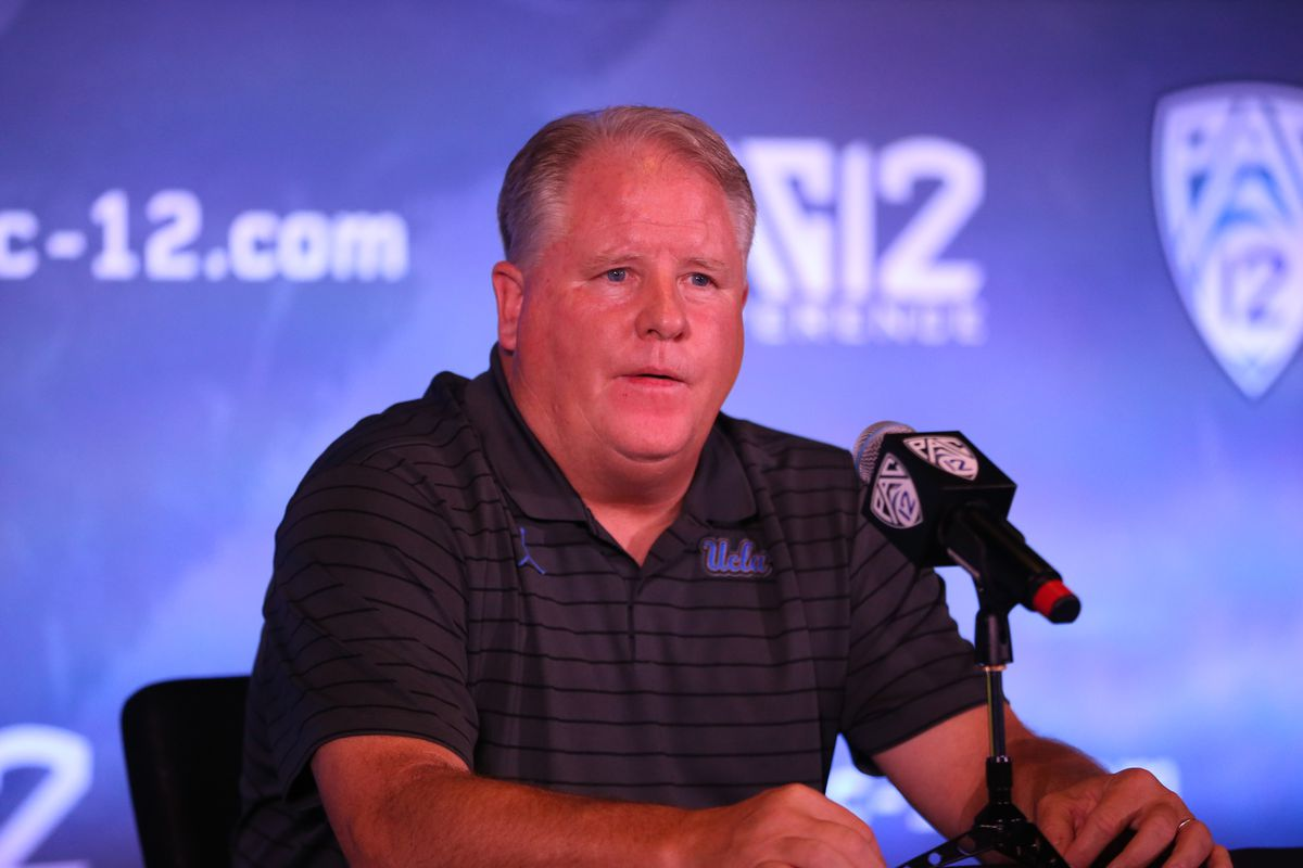 UCLA coach Chip Kelly during the Pac-12 Football Media Day on July 27, 2021, at the W Hotel in Hollywood, CA.