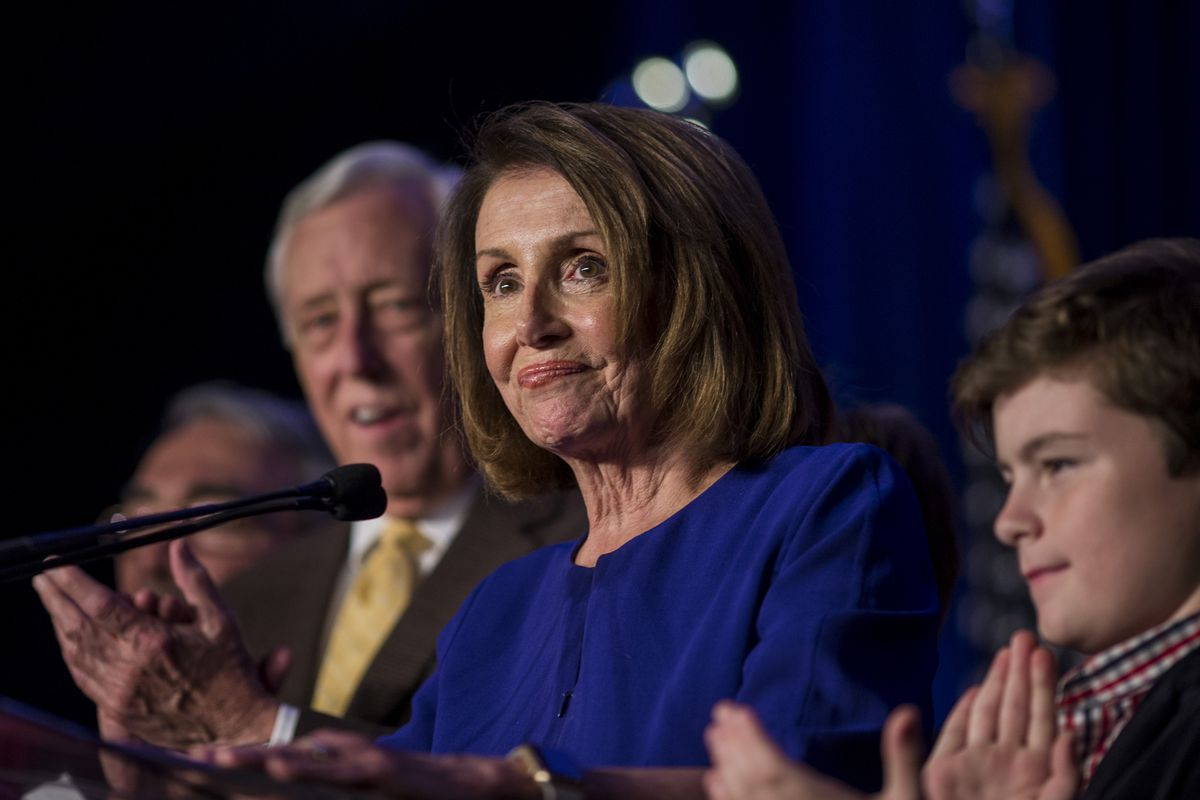 House Minority Leader Nancy Pelosi speaks at an election watch party in Washington, DC on November 6, 2018.