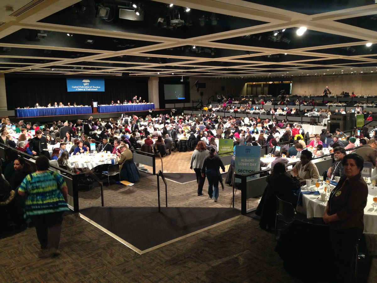 More than 1,000 city teachers traveled to Albany for UFT's lobby day Wednesday.