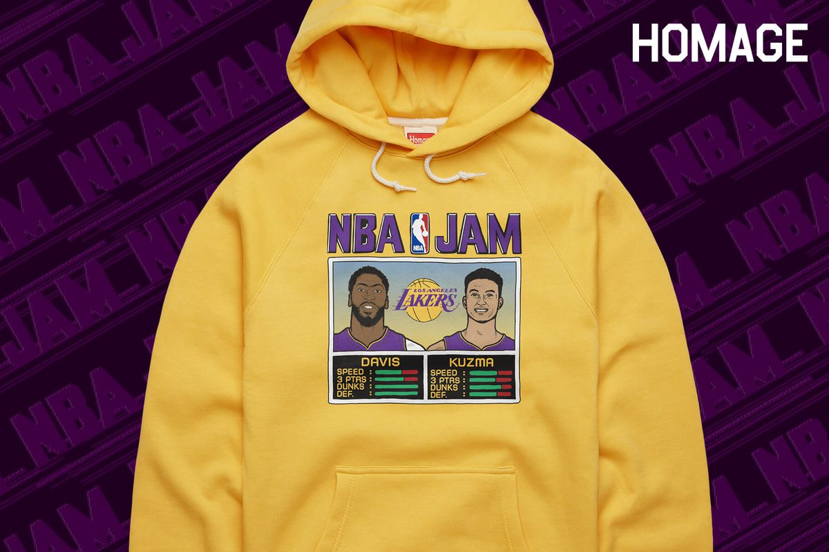 These Lakers NBA Jam hoodies from Homage are on fire!