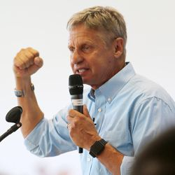 Libertarian presidential candidate Gov. Gary Johnson talks to supporters at the Student Union Building at the University of Utah in Salt Lake City as he and running mate Gov. Bill Weld pay a visit on Saturday, Aug. 6, 2016.