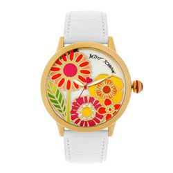 """<b>Betsey Johnson</b> flower dial leather strap watch, $75 at <a href=""""http://shop.nordstrom.com/s/betsey-johnson-flower-dial-leather-strap-watch/3435633"""">Nordstrom</a>"""