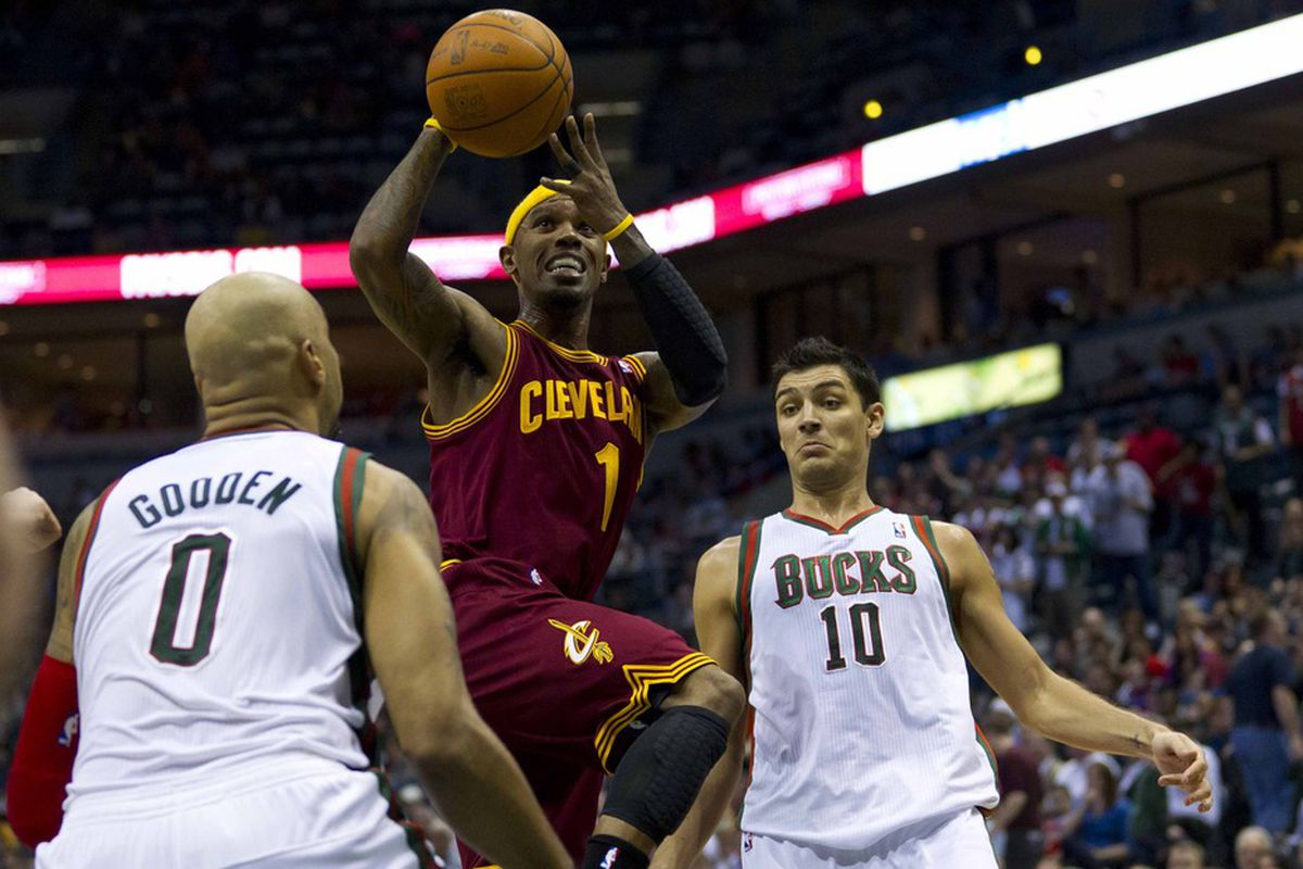 Mar 14, 2012; Milwaukee, WI, USA;  Cleveland Cavaliers guard Daniel Gibson (1) during the game against the Milwaukee Bucks at the Bradley Center.  The Bucks defeated the Cavaliers  115-101.  Mandatory Credit: Jeff Hanisch-US PRESSWIRE