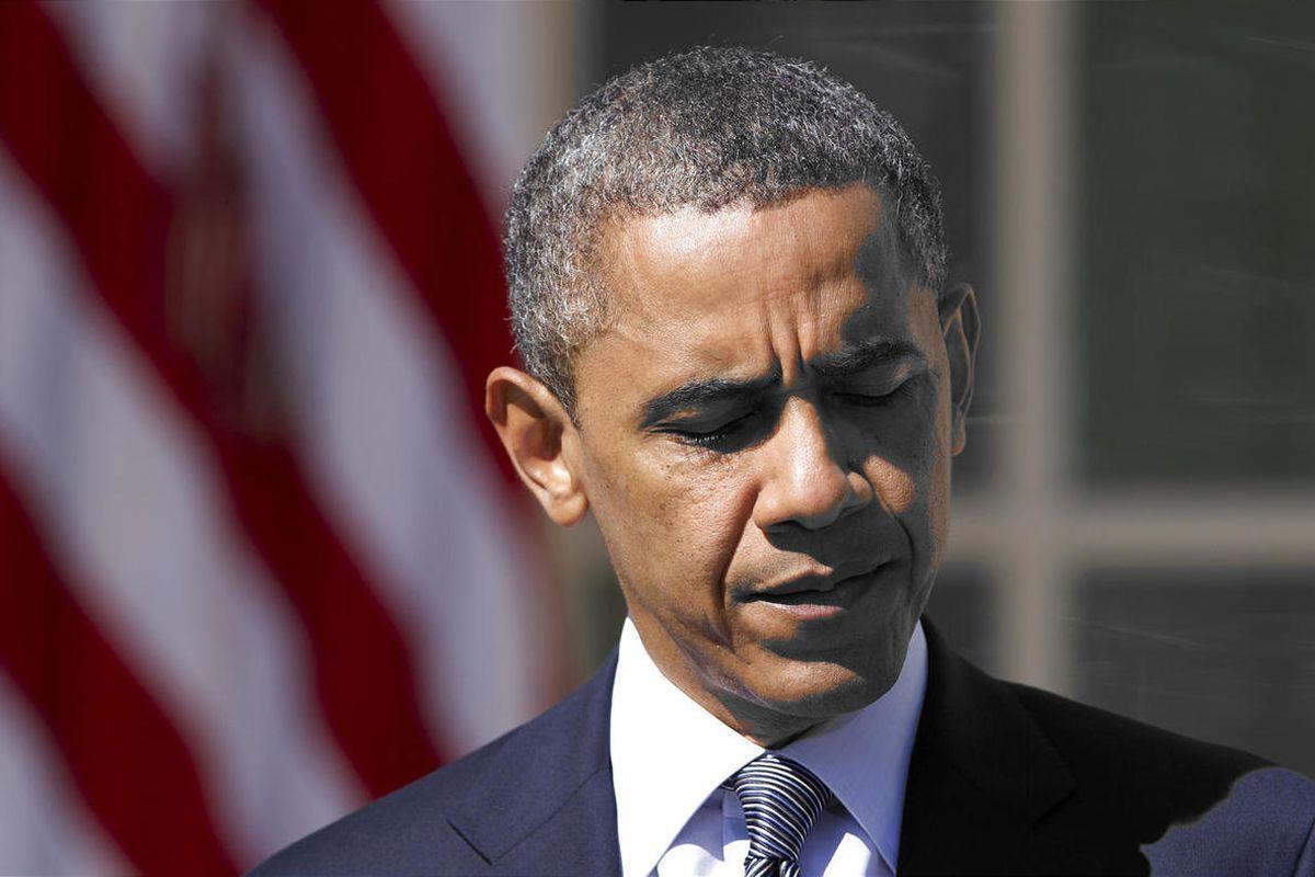 President Barack Obama pauses as he speaks in the Rose Garden of the White House in Washington.