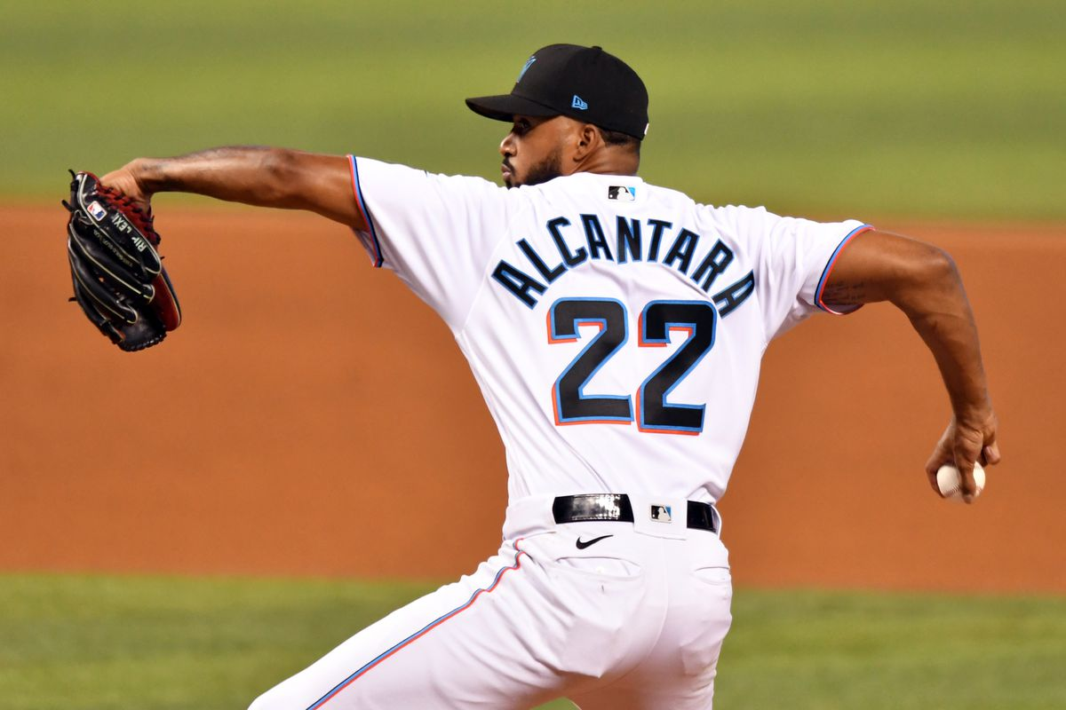 Miami Marlins starting pitcher Sandy Alcantara (22) pitches against the Philadelphia Phillies during the first inning at loanDepot Park.