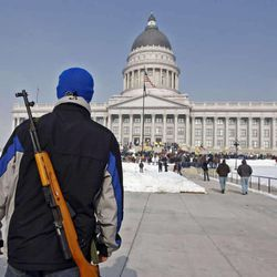 Thousands demonstrate at a pro gun rally sponsored by Guns Across America at the Utah State Capitol Saturday, Jan. 19, 2013, in Salt Lake City.