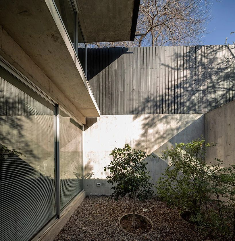A light-filled sunken courtyard, accessed from the basement level of the home, has a few trees.
