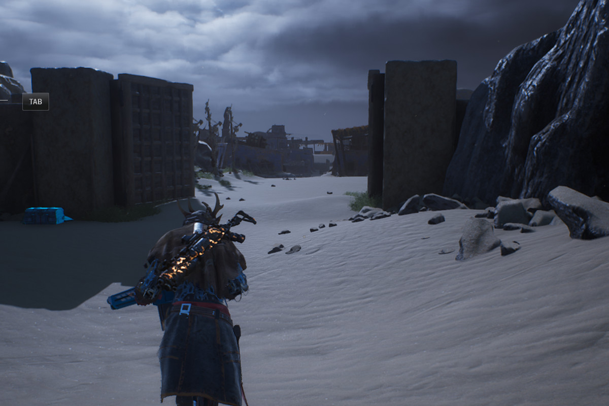 Running through a gate in the Big Iron quest in Outriders