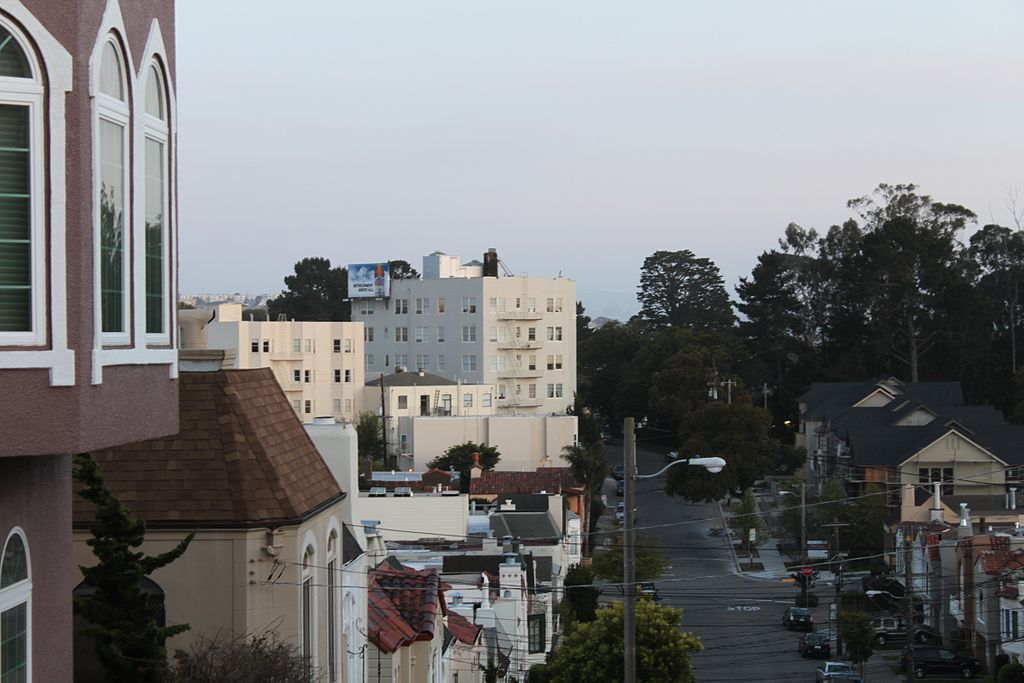 An aerial view of various buildings in San Francisco.