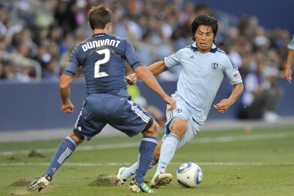 According to FIFA 12, Roger Espinoza is a better player than Graham Zusi, Seth Sinovic, and Chance Myers.  (Photo by Peter Aiken/Getty Images)