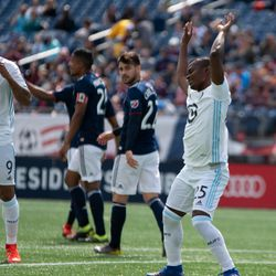 FOXBOROUGH, MA - MARCH 30: Minnesota United FC forward Darwin Quintero #25 dances after scoring at Gillette Stadium on March 30, 2019 in Foxborough, Massachusetts. (Photo by J. Alexander Dolan - The Bent Musket)