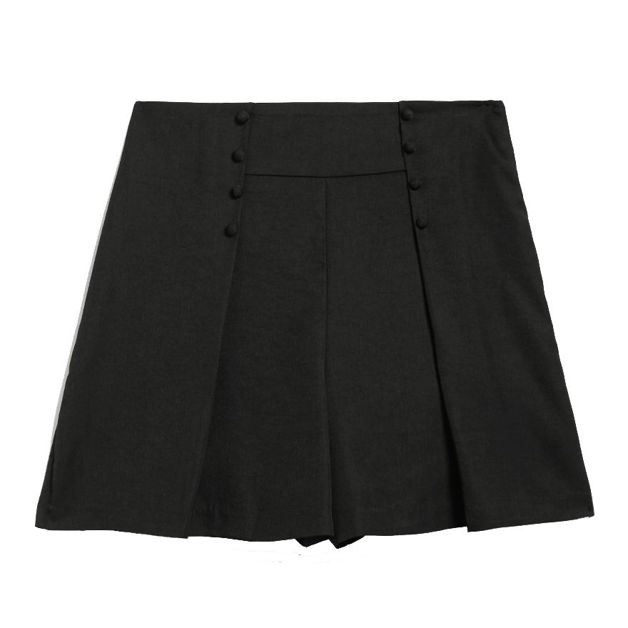 Black shorts with buttons on the front