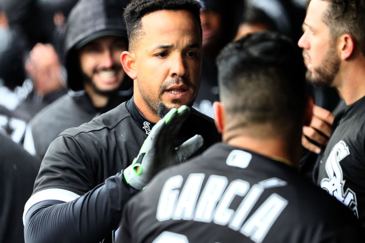 0047e9bec157a Jose Abreu  79 of the Chicago White Sox celebrates with teammates in the  dugout after hitting a home run during the 4th inning of the game against  the ...