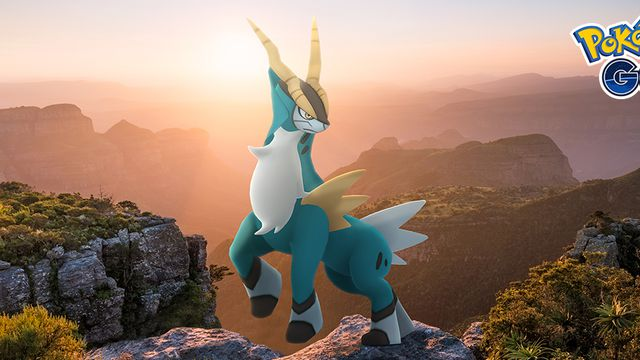 Cobalion poses on top of a mountain