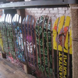 Skateboarding, music, graffiti and other counter-cultural elements inspired the restaurant's design.