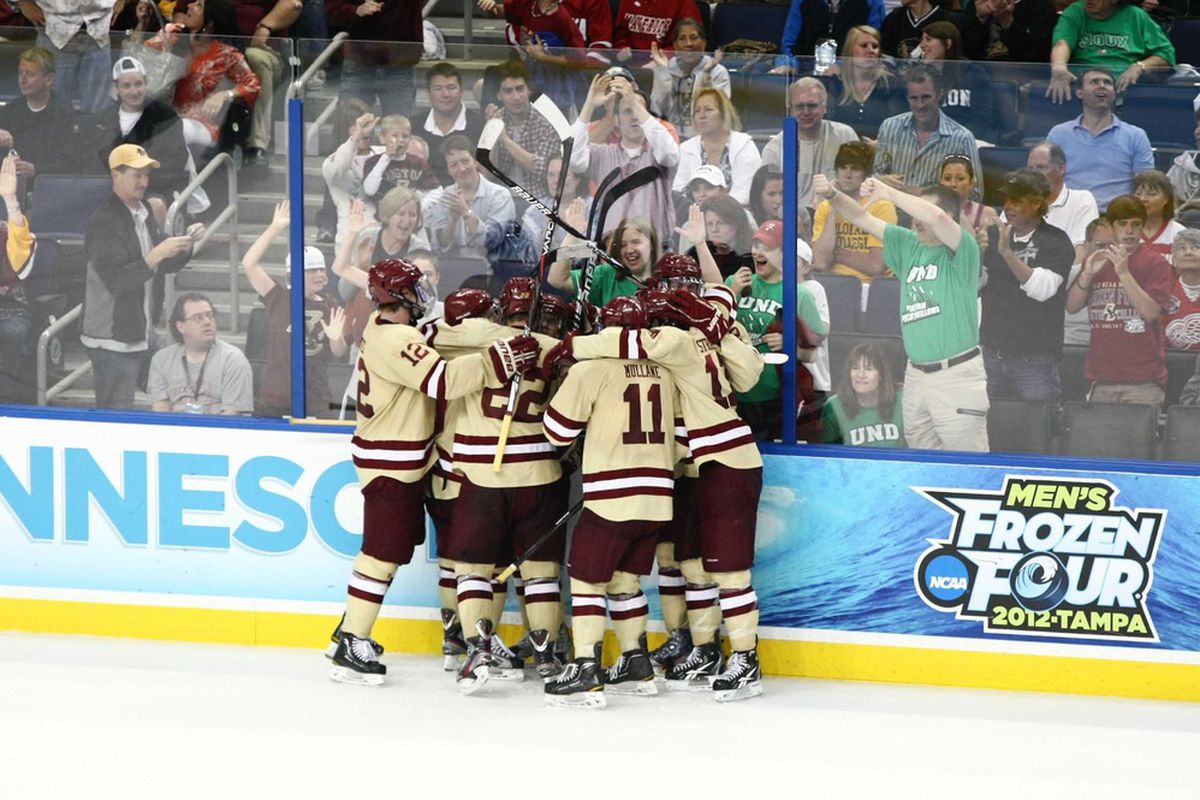 Boston College players had reason to celebrate nine goals on Friday night in a rout of visiting Wisconsin.