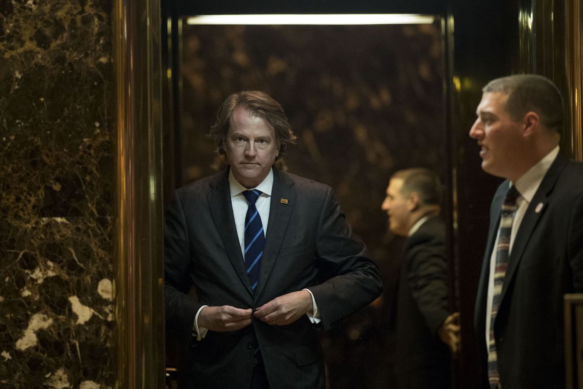 McGahn at Trump Tower during the transition.