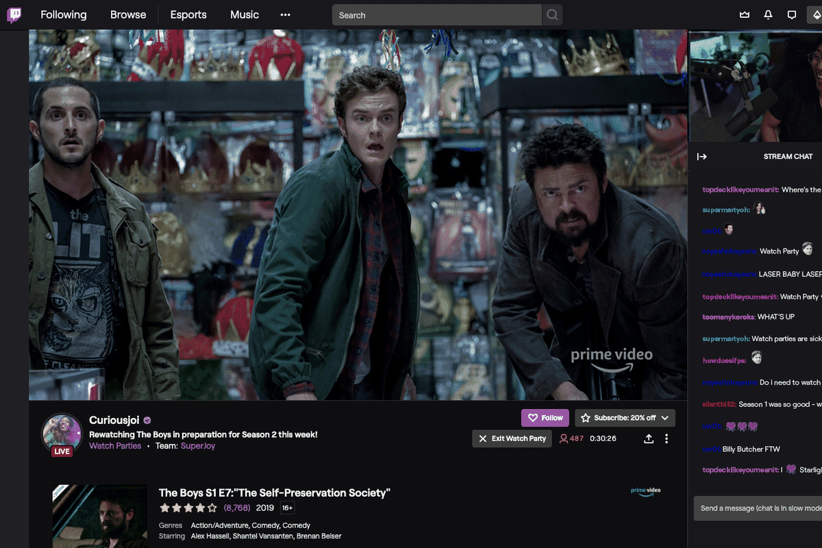 Twitch now lets anyone host an online movie party with the Amazon Prime  Video library - The Verge