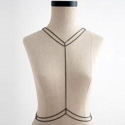 """<b>Armor</b> Ada Body Chain in Gunmetal, <a href=""""http://www.sucre.bigcartel.com/product/armor-ada-bodychain-in-gunmetal"""">$150</a> at Sucre"""