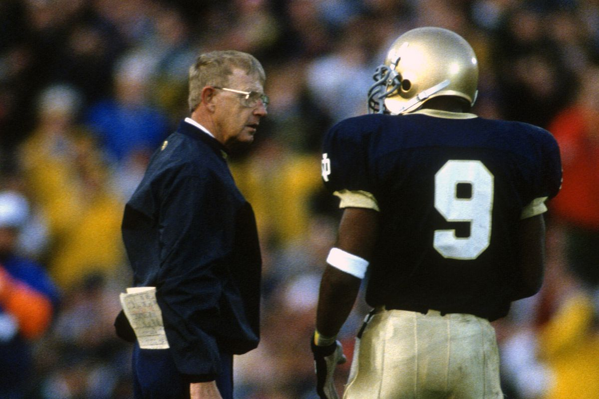 Top Ten Greatest Notre Dame Football Coaches 4 Lou Holtz One Foot Down