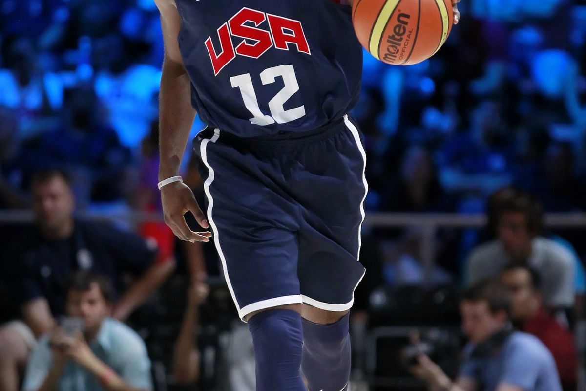 July 14, 2012; Washington, DC, USA; United States forward James Harden (12) dribbles the ball during USA team training at the DC Armory. Mandatory Credit: Geoff Burke-US PRESSWIRE