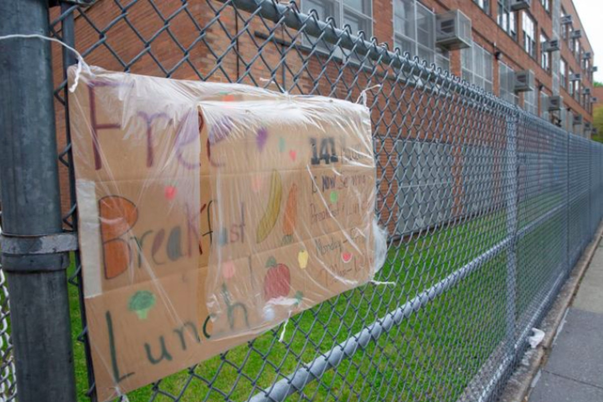 A public school in Bedford-Stuyvesant, Brooklyn, was distributing free food during the coronavirus outbreak, May 14, 2020.