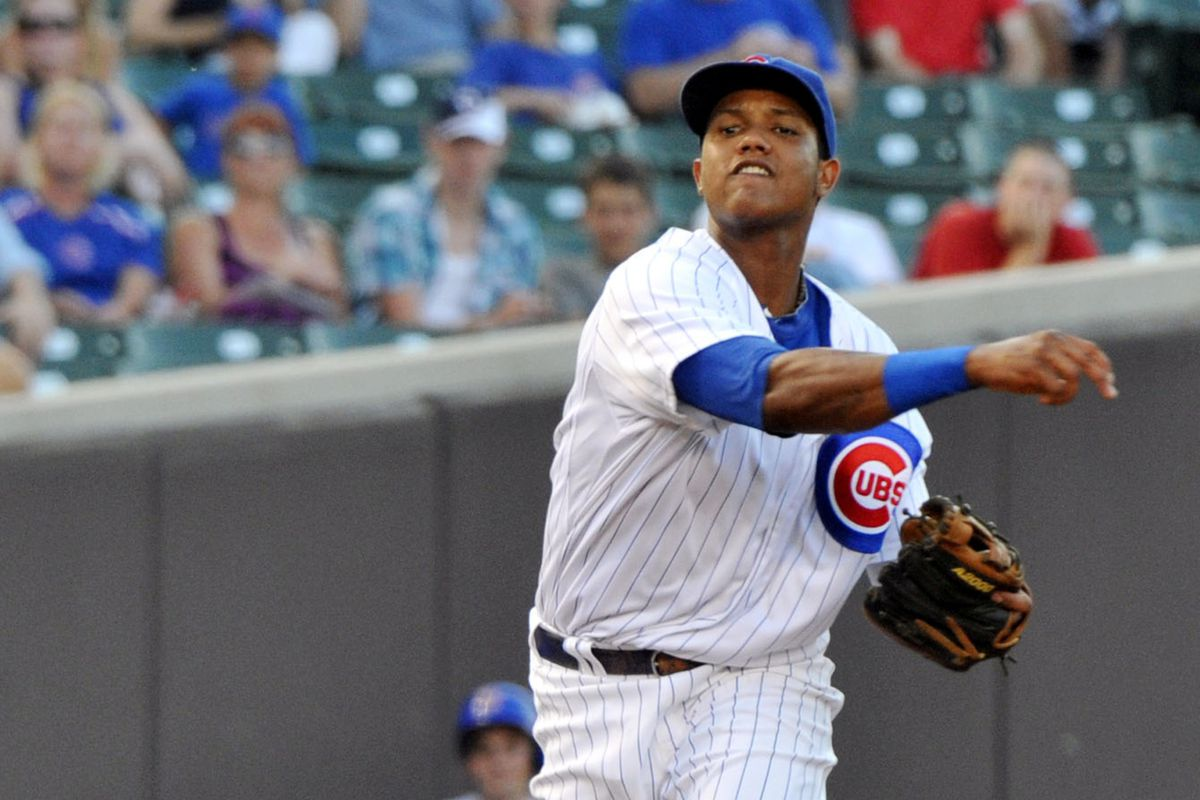 Chicago, IL, USA; Chicago Cubs shortstop Starlin Castro throws to first for an out against the Miami Marlins at Wrigley Field. Credit: Rob Grabowski-US PRESSWIRE