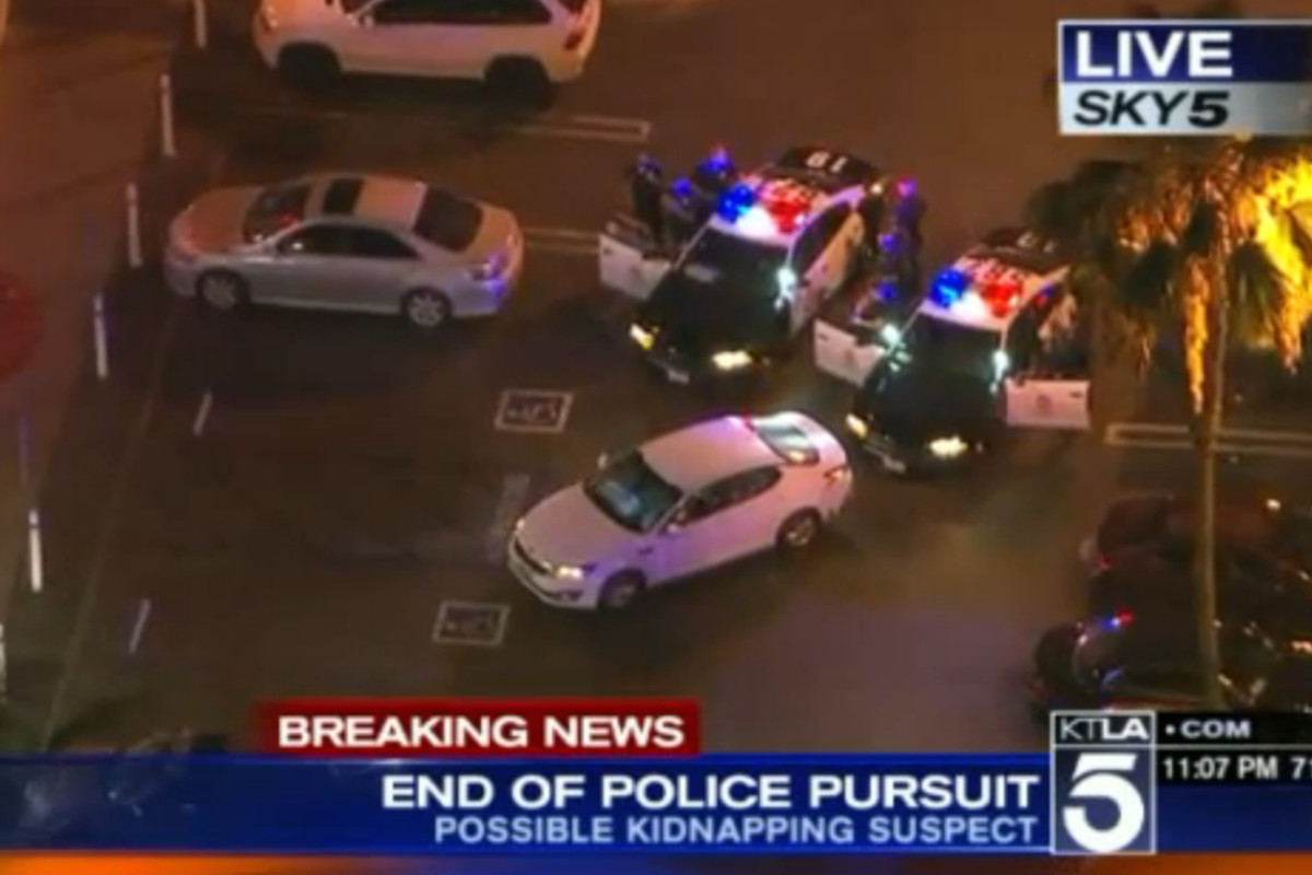Screenshot of police standoff at Panorama City In-N-Out