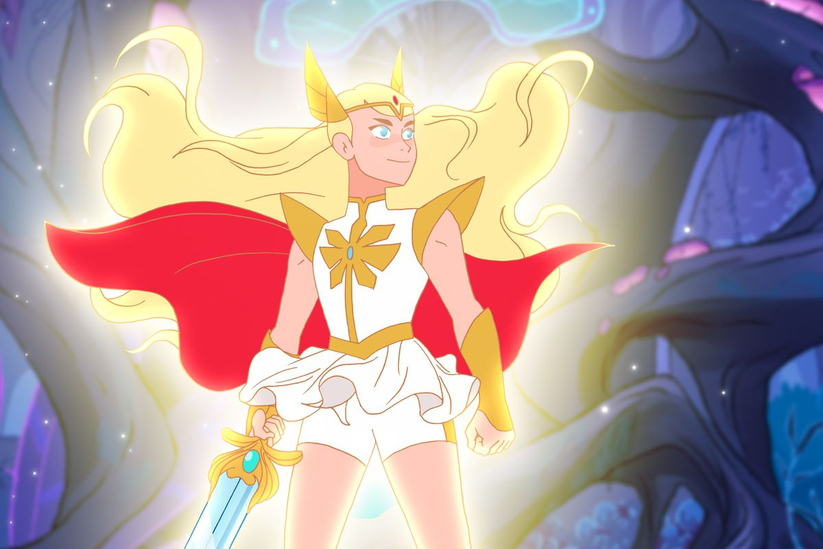 She-Ra standing and glowing while holding sword