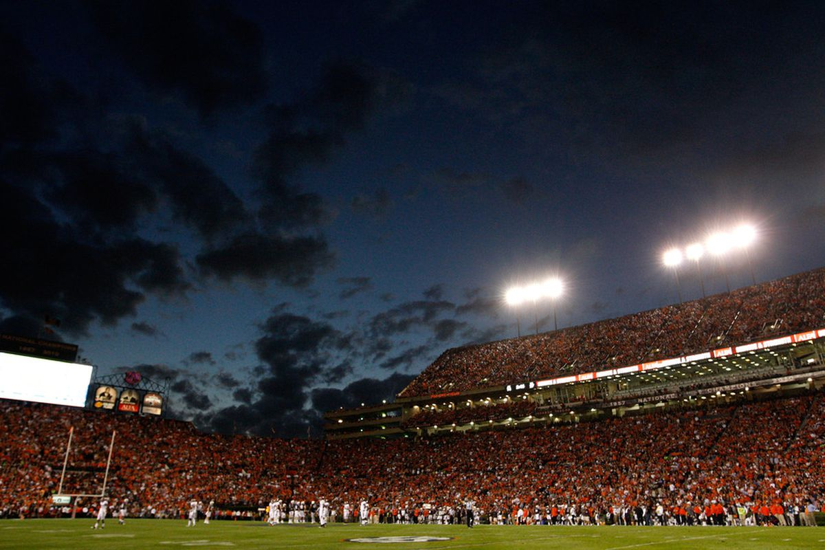 AUBURN, AL - NOVEMBER 26:  A general view of Jordan-Hare Stadium during the game between the Alabama Crimson Tide and the Auburn Tigers on November 26, 2011 in Auburn, Alabama.  (Photo by Kevin C. Cox/Getty Images)