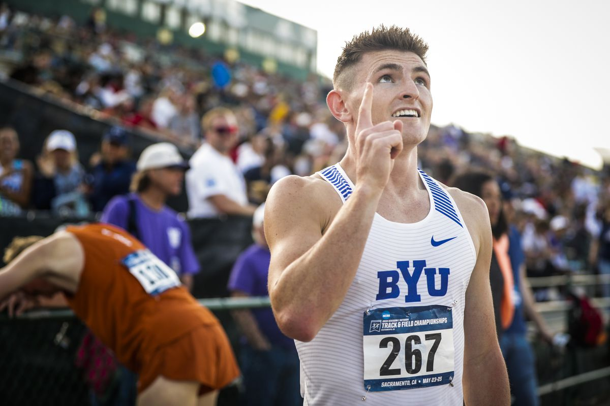 Talem Franco celebrates after qualifying for the NCAA Outdoor Track and Field Championships at the NCAA West Prelims.