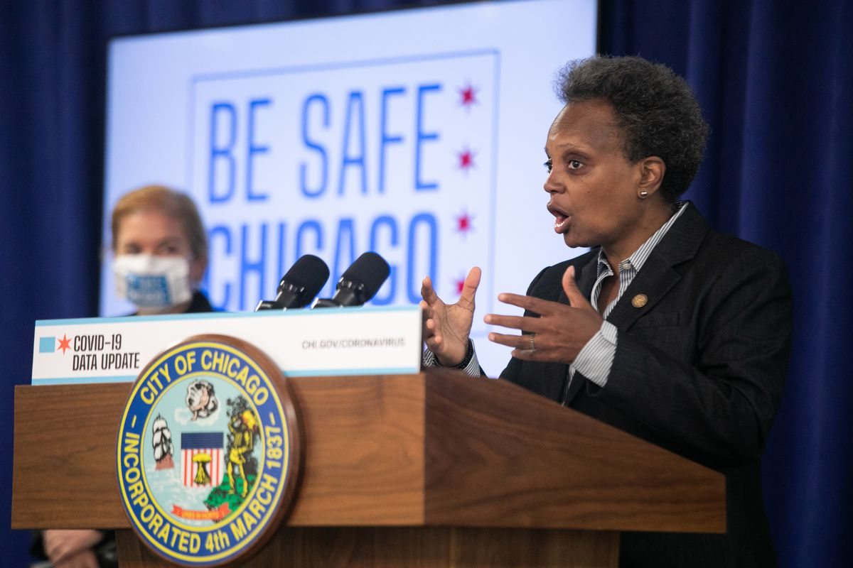Mayor Lori Lightfoot, shown at a Wednesday news conference, has joined mayors statewide in sending a letter to Illinois' congressional delegation reminding them of the need for continued federal assistance to overcome the pandemic. Congress is continuing to work on another round of emergency relief funding.