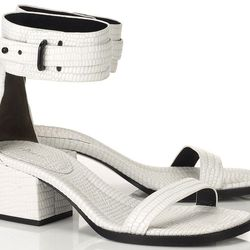 """<i>3.1 Phillip Lim, <a href=""""https://editorialist.com/shoes/product/coco-optic-white-leather-sandal"""">$475</a></i><br> """"A chic white sporty sandal is the go-with-everything shoe for the spring."""""""
