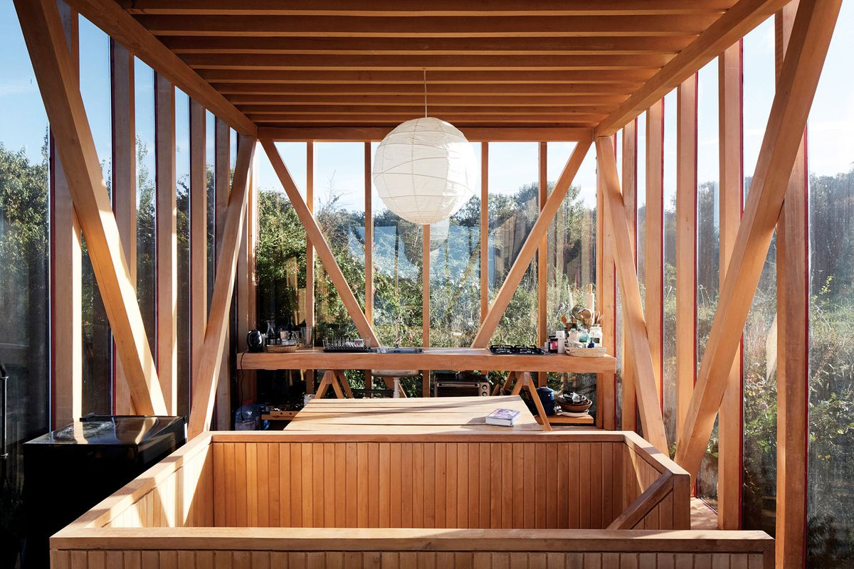 Airy room with timber ceiling