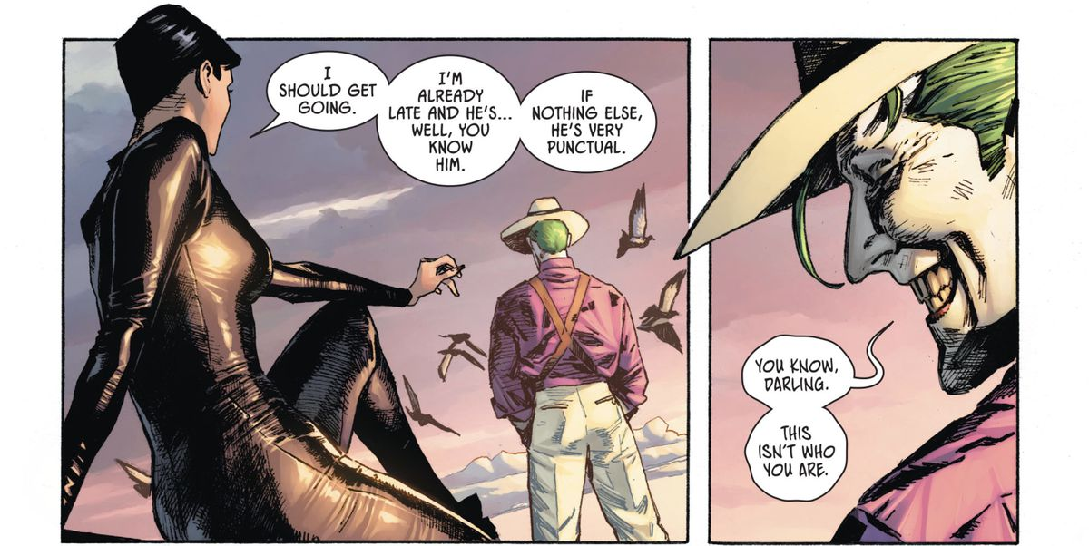 "On a rooftop at dawn, Catwoman excuses herself to go meet Batman. ""You know, darling,"" the Joker responds, ""This isn't who you are."" in Batman/Catwoman #1, DC Comics (2020)."