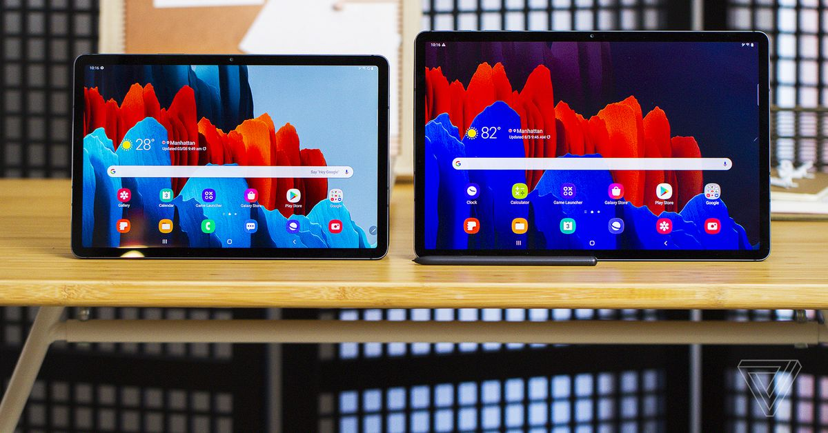 Samsung S Galaxy Tab S7 Plus Tablet Has A 120hz Oled Display And 5g The Verge