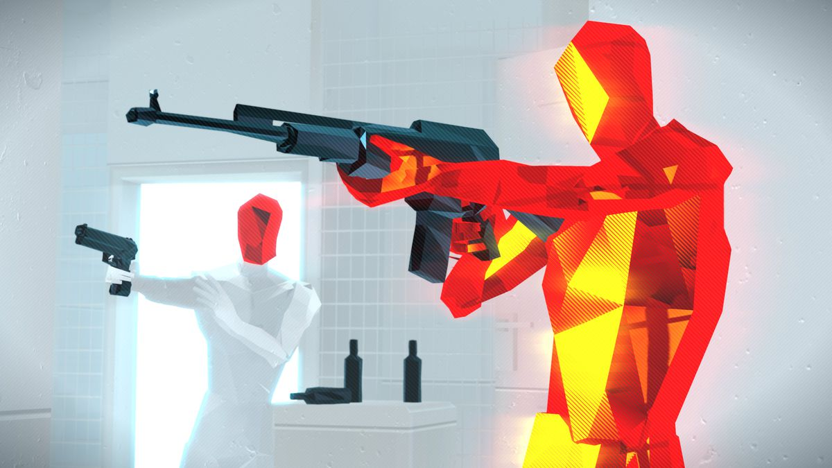 A red enemy and an enemy with a white body and red head aim off-camera